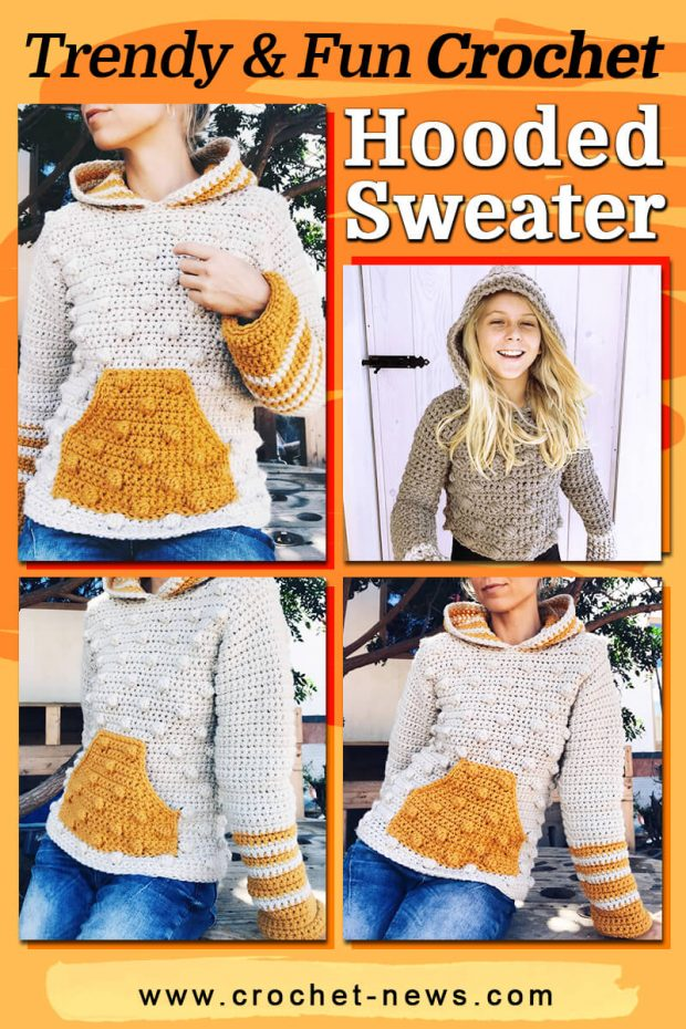 trendy and fun crochet hooded sweater