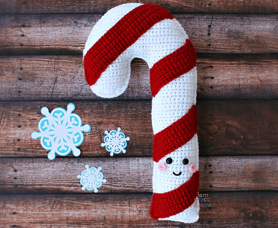 Candy Cane Crochet Pattern by 3am Grace Designs