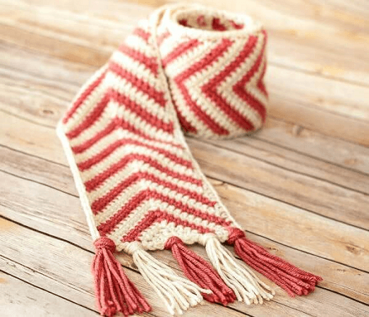 Chevron Crochet Scarf Pattern by Petals To Picots
