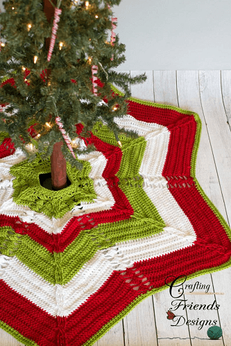 Classic Cable Star Christmas Tree Skirt Pattern by Crafting Friends Designs