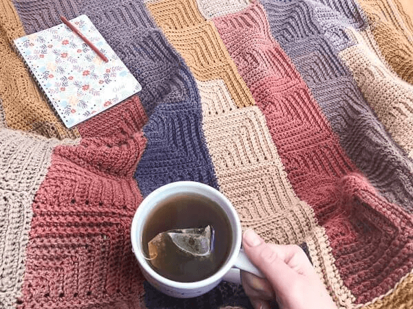 Continuous Mitered Square Crochet Afghan Pattern by Petals To Picots