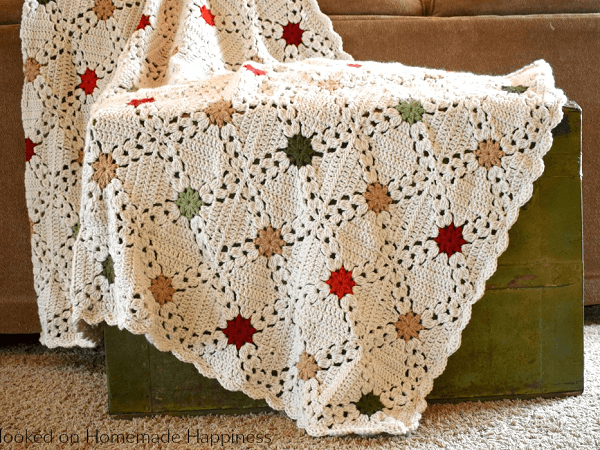 Country Christmas Afghan Crochet Pattern by Hooked On Homemade Happiness