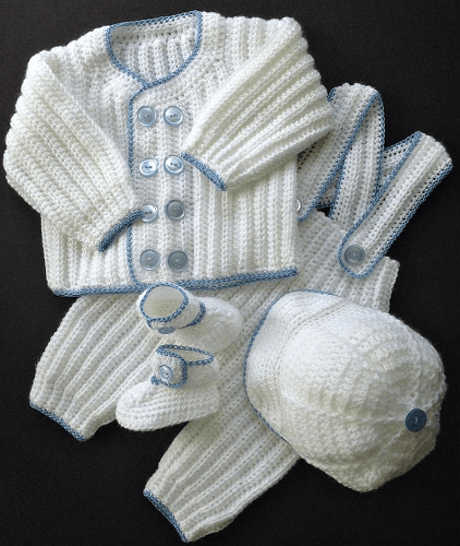 Crochet Baby Boy Christening Outfit Pattern by The Best Dressed Baby