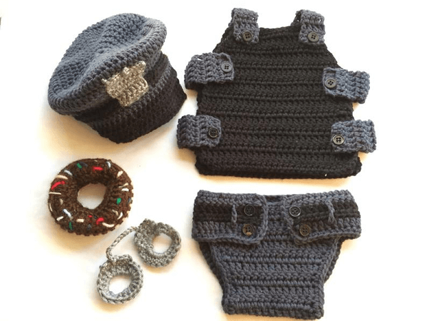 Crochet Baby Policeman Outfit Pattern by Sue Stitch