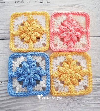 Crochet Bobble Drops Flower Granny Square Pattern by Crochet For You