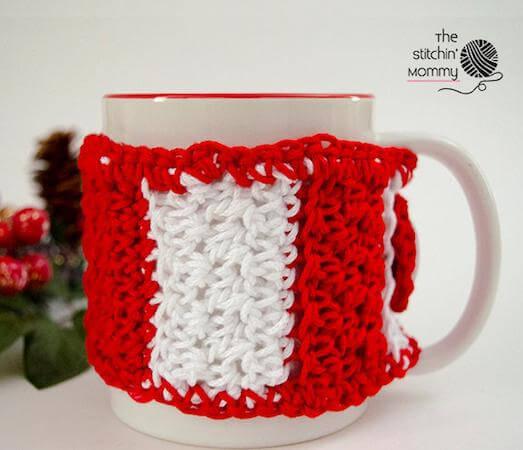 Crochet Candy Cane Mug Cozy Pattern by The Stitchin Mommy