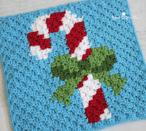 Pixel Square Candy Cane Crochet Pattern by Repeat Crafter Me