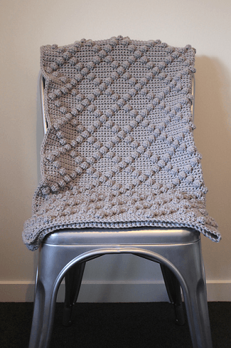 Crochet Diamond Bobble Throw by Paws And Wool