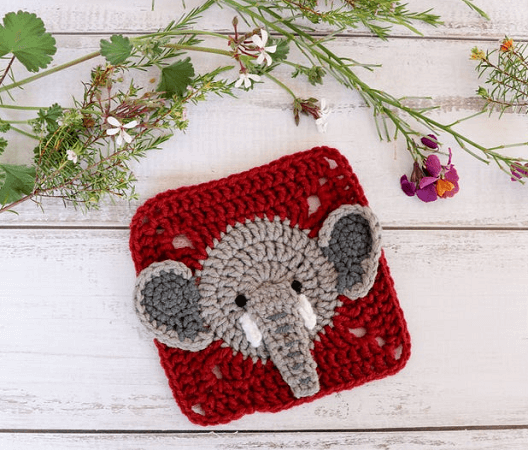 Crochet Elephant Square Pattern by Thoresby Cottage