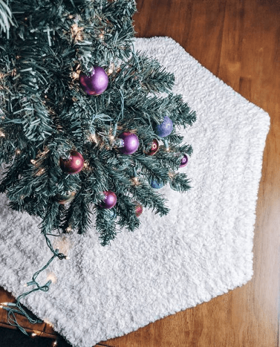 Crochet Faux Fur Tree Skirt Pattern by Ginger Knots