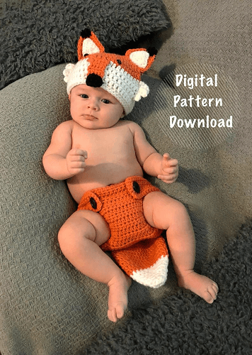 Crochet Fox Baby Outfit Pattern by Crochet Courtesan