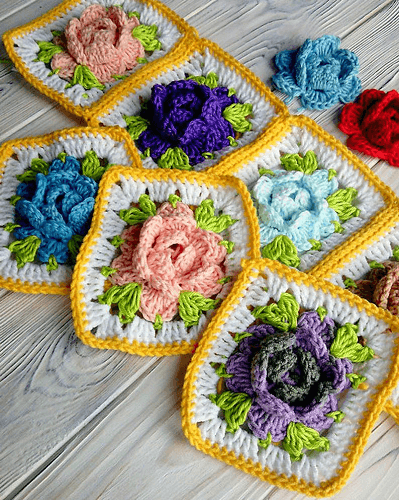 Crochet Granny Square Floral Pattern by Luba Davies Atelier