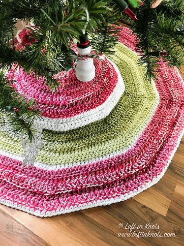 Crochet Holly Jolly Christmas Tree Skirt Pattern by Left In Knots