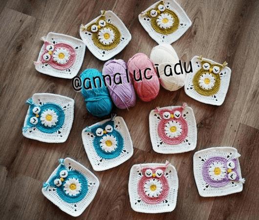 Crochet Owl Square Pattern by Emma Crochet Design 4 U