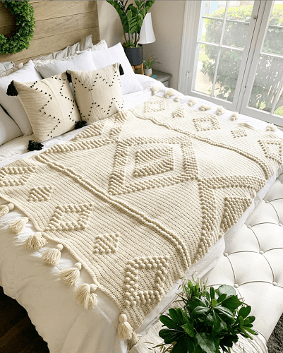 Diamond Luxe Crochet Throw Blanket Pattern by Chalia's Craft