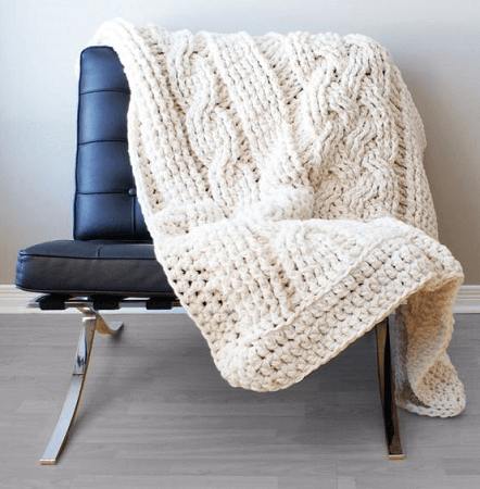 Double Cable Crochet Throw Blanket Pattern by Mid Knits