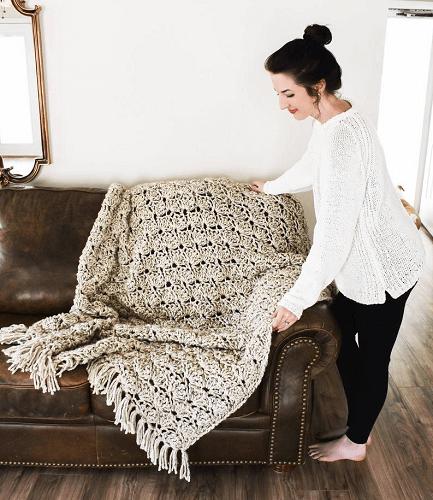 Eleanor Throw Blanket Crochet Pattern by Darling Be Brave