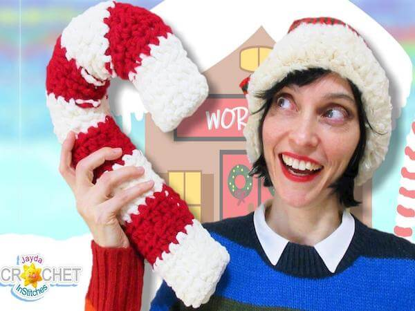 Giant Candy Cane Crochet Pattern by Jayda In Stitches