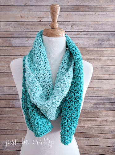 Green Meadows Free Crochet Scarf Pattern by Just Be Crafty