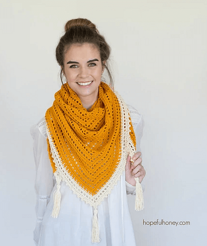 Honey Bird Triangle Scarf Crochet Pattern by Hopeful Honey
