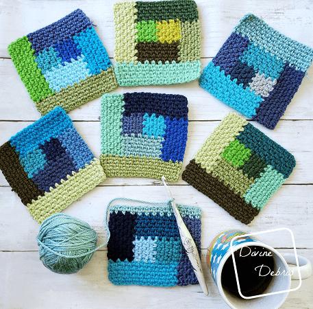 Linen Log Cabin Square Free Crochet Pattern by Divine Debris