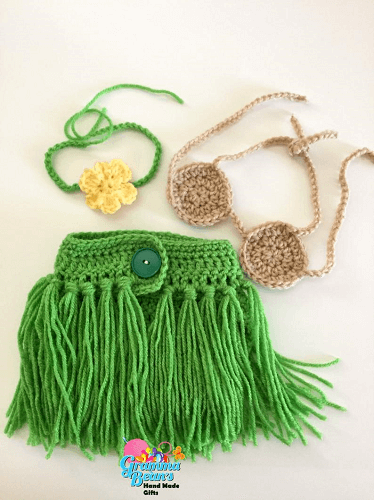 Little Hula Girl Outfit Crochet Pattern by Gramma Beans