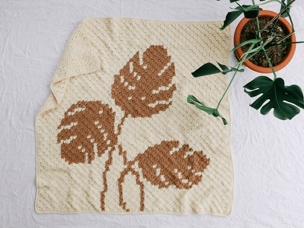 Monstera Throw Blanket Crochet Pattern by Make And Do Crew