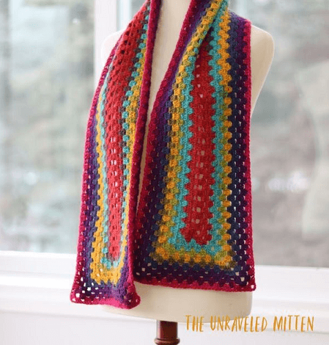 Not Just For Granny Scarf Free Crochet Pattern by The Unraveled Mitten