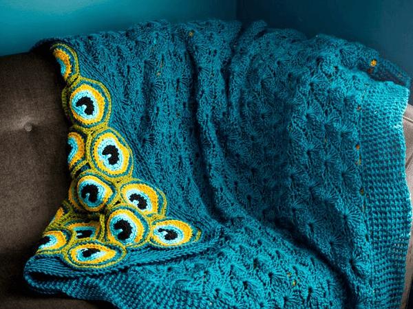 Peacock Pretty Afghan Crochet Pattern by Kraftling