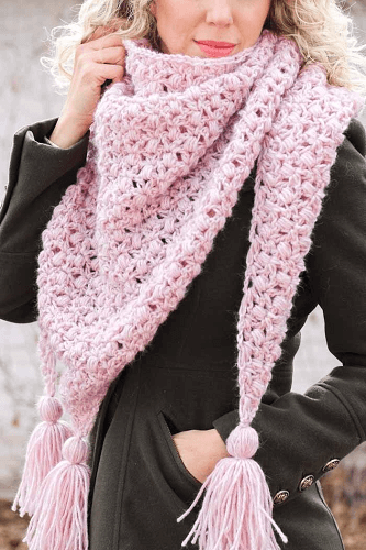 Puff And Lace Crochet Triangle Scarf Free Pattern by Make And Do Crew