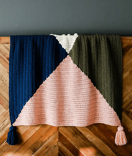Quad Color Throw Crochet Pattern by Jess Coppom
