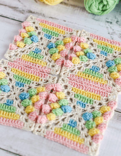 Rainbow Gumdrop Crochet Square Pattern by Thoresby Cottage