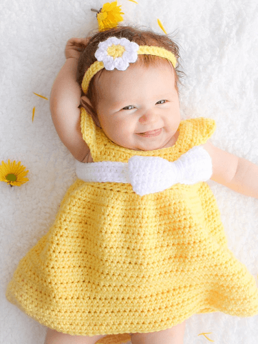 Simply Spring Crochet Baby Dress Pattern by Winding Road Crochet