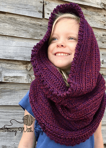 Sleigh Ride Hooded Infinity Scarf Crochet Pattern by String With Style