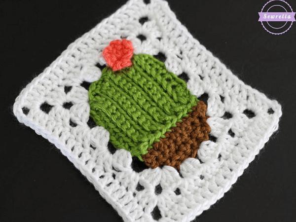 Succulent Cacti Crochet Granny Square Pattern by Sewrella