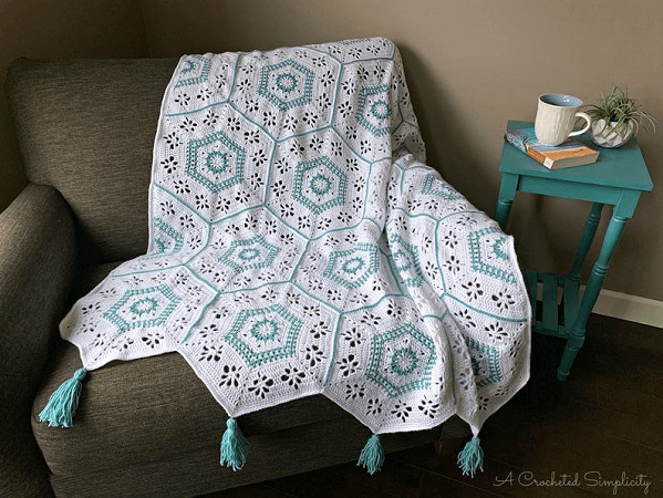 Succulent Spring Hexagon Crochet Afghan Pattern by A Crocheted Simplicity