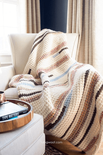 Tunisian Crochet Throw Pattern by 1 Dog Woof