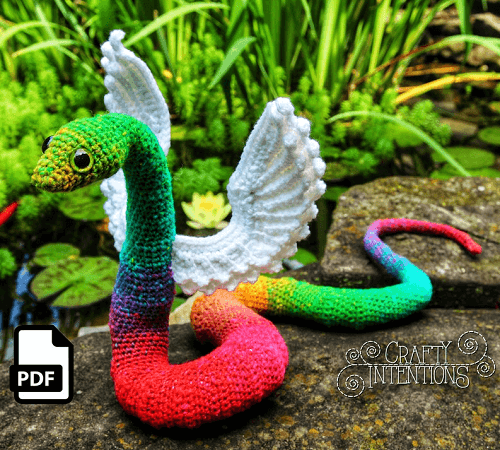 Winged Snake Crochet Amigurumi Pattern by Crafty Intentions