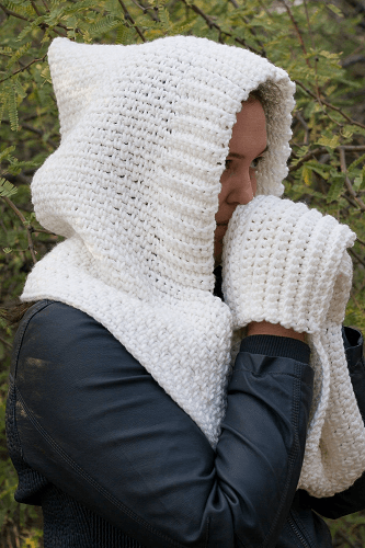 Woodland Hooded Scarf Free Crochet Pattern by Winding Road Crochet