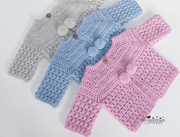 Baby Cardigan Crochet Pattern by Kerry Jayne Designs