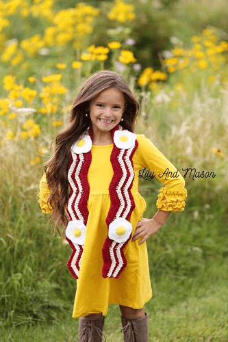 Bacon And Eggs Crochet Scarf Pattern by Lily And Mason Boutique