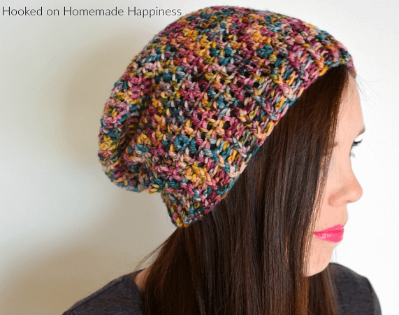 Basic Slouchy Beanie Crochet Pattern Free by Hooked On Homemade Happiness