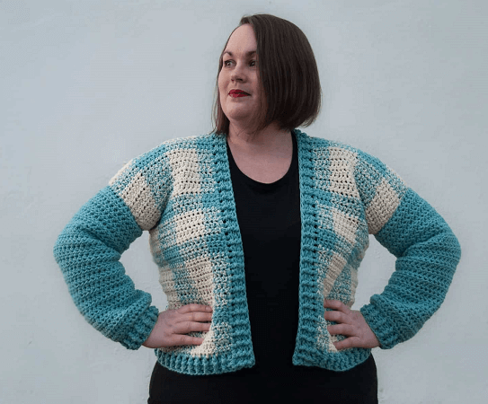 Buffalo Check Cardigan Crochet Pattern by Joy Of Motion Crochet