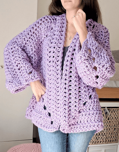 Chunky Hexagon Cardigan Free Crochet Pattern by The Snugglery