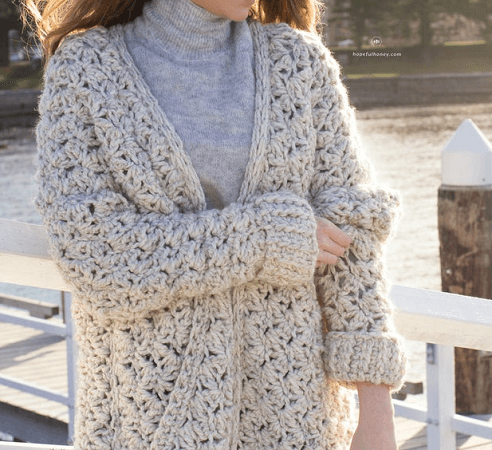 Coastal Fog Chunky Cardigan Crochet Pattern by Hopeful Honey Designs