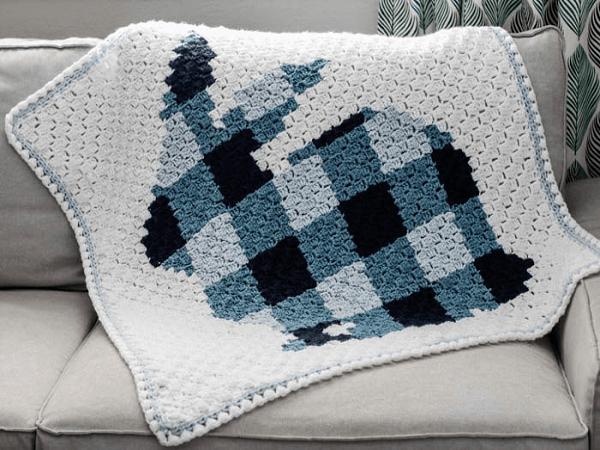 Corner To Corner Crochet Bunny Blanket Pattern by Make And Do Crew