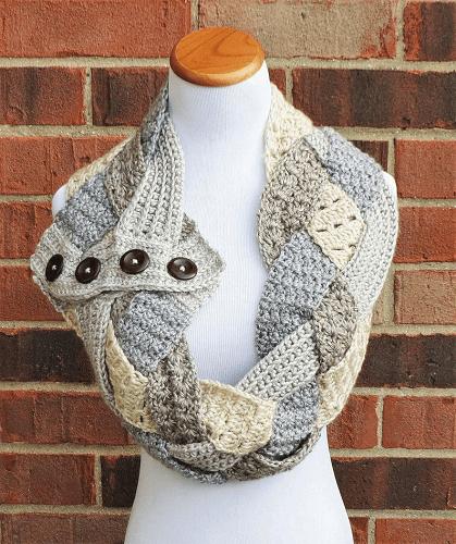 Crochet Braided Scarf Pattern by Alyse Crochet