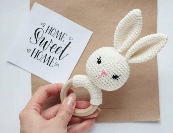 Crochet Bunny Rattle Toy Pattern by Toys By Knit Friends