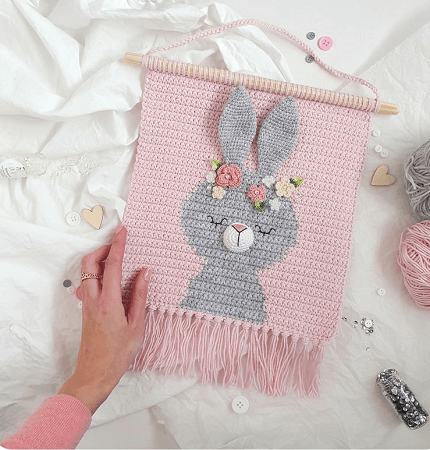 Crochet Bunny Wall Hanging Pattern by Demi Deco Shop