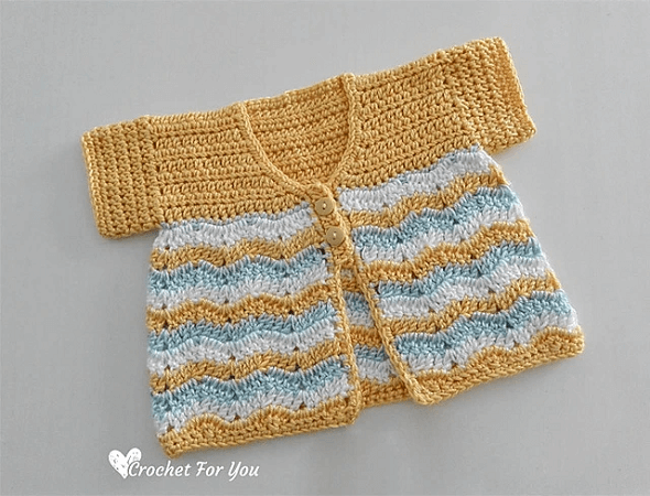 Crochet Chevron Spring Baby Cardigan Pattern by Crochet For You